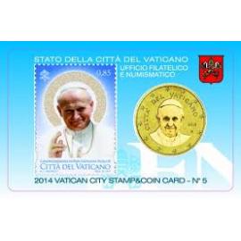 Vaticaan 50 Cent 2014 BU Coincard nr 5 met postzegel