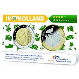 "Coincard Ik Hou Van Holland 2015  ""Klompen""  2 euro BU penning"