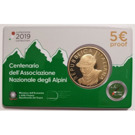 "Italië 5 euro 2019  ""National Alpine Association"" PROOf Coincard"