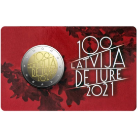 Letland 2 euro 2021 100 jr Republiek Letland Coincard