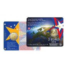 "Coincard Slowakije 2 Euro 2014 ""10 Jaar EU"" BU kwaliteit"