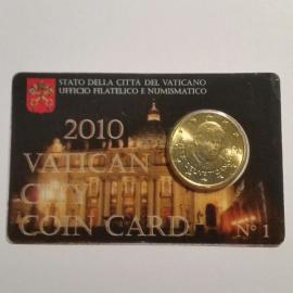 Vaticaan 50 Cent 2010 BU Coincard nr 1