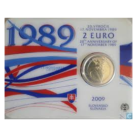 Coincard Slowakije 2 euro 2009  20 jaar Fluwelen Revolutie