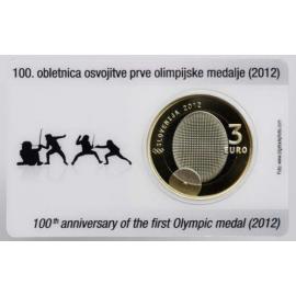Coincard 3 Euro Commemorative Slovenië 2012 - 100 jaar Olympische medaille  PROOF